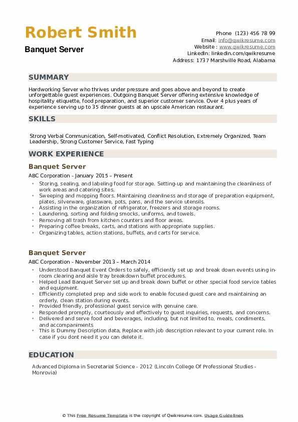 Banquet Server Resume Samples Qwikresume