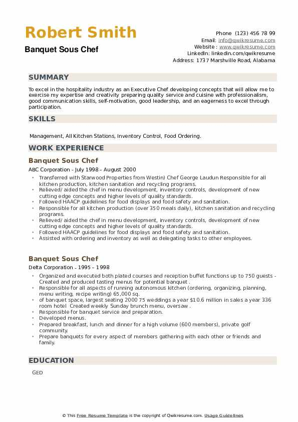 Banquet Sous Chef Resume example