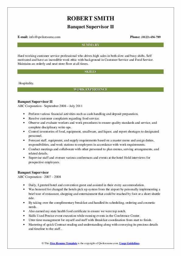 Banquet Supervisor II Resume Sample