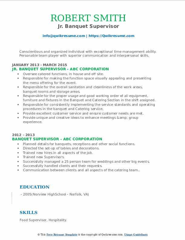 Jr. Banquet Supervisor Resume Model