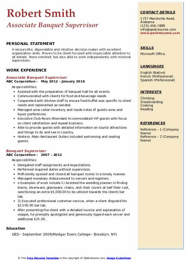 Associate Banquet Supervisor Resume Sample