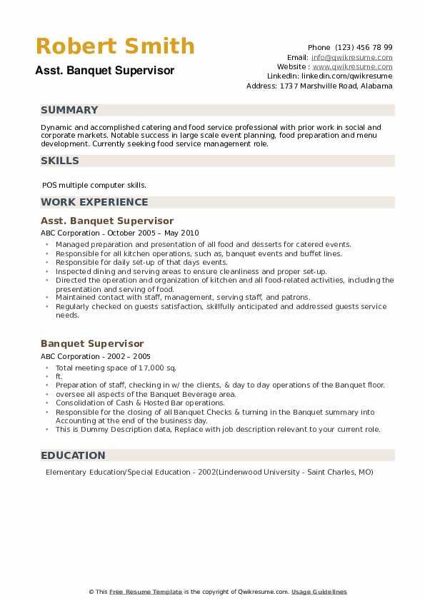 Asst. Banquet Supervisor Resume Example