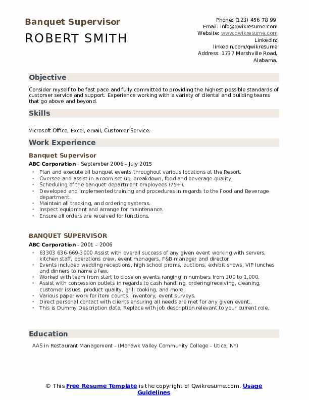 Banquet Supervisor Resume example