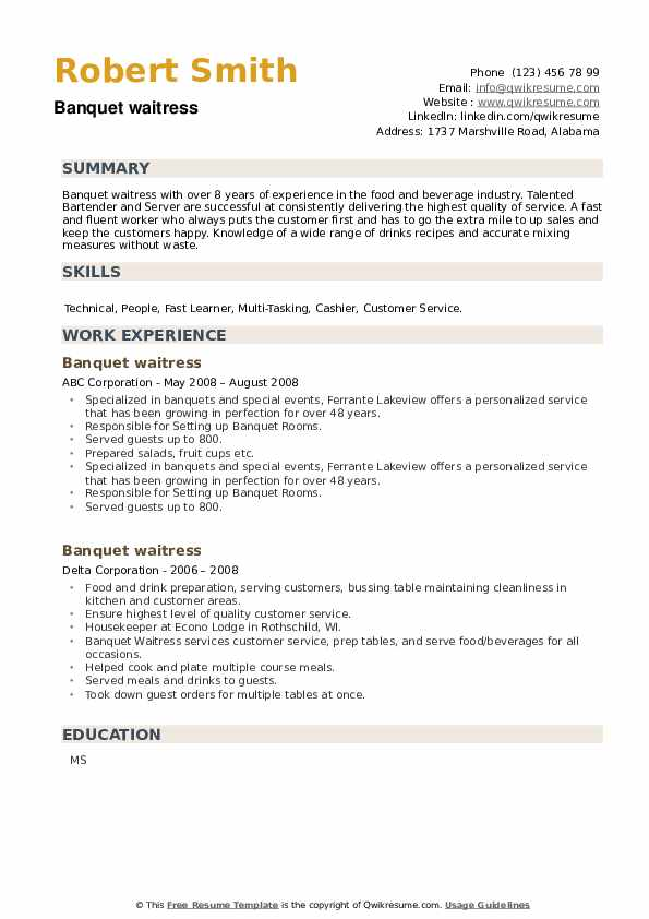 Banquet waitress Resume example
