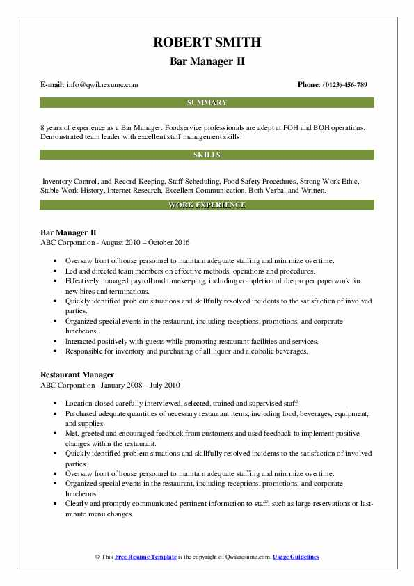 Bar Manager II Resume Template