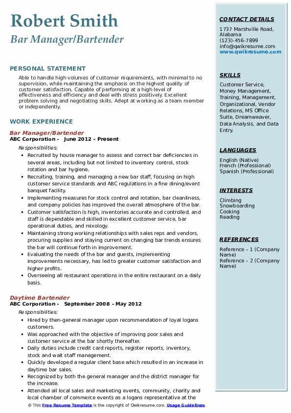 Bar Manager/Bartender Resume Template