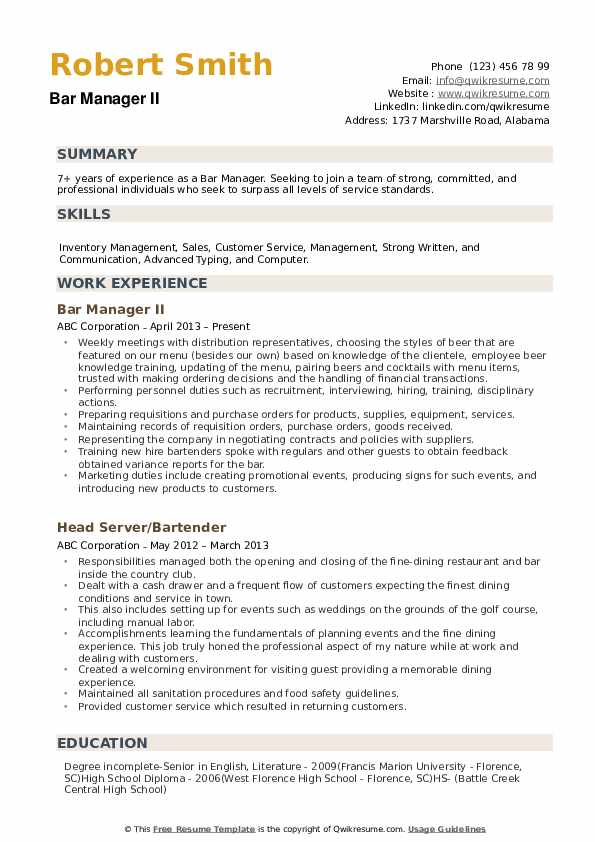 Bar Manager Resume example