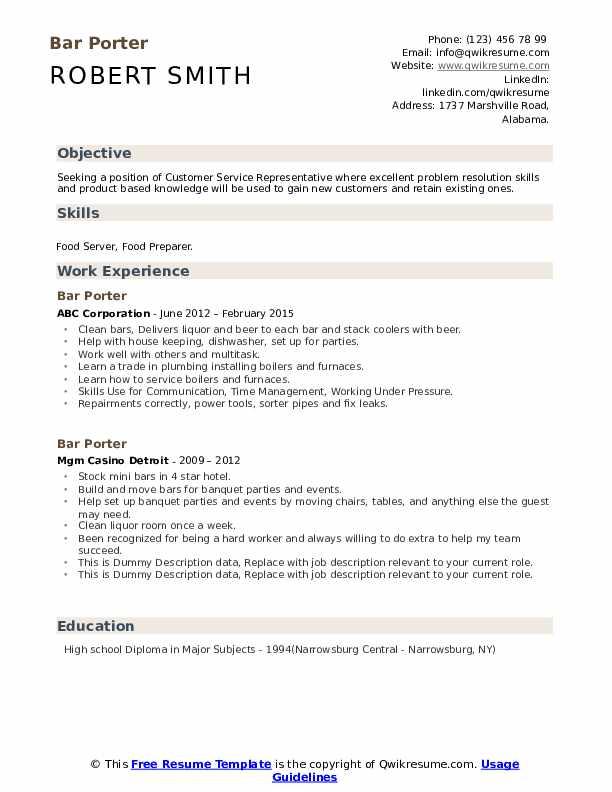 Bar Porter Resume example