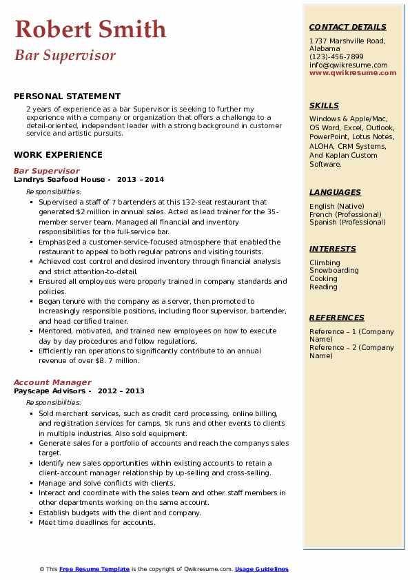 Bar Supervisor Resume Example