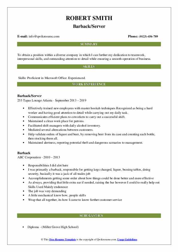 Barback/Server Resume Example