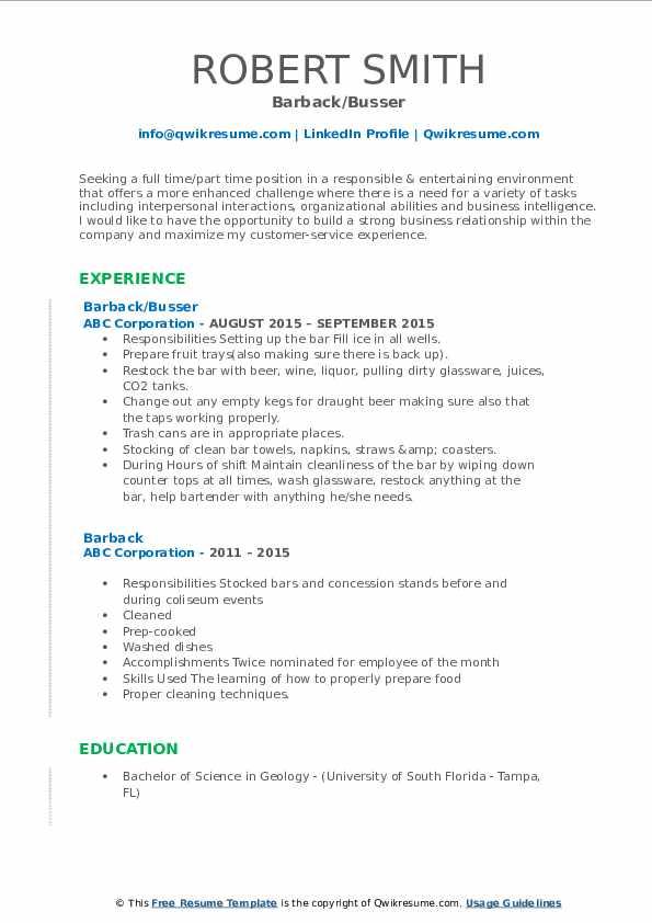 Barback/Busser Resume Template