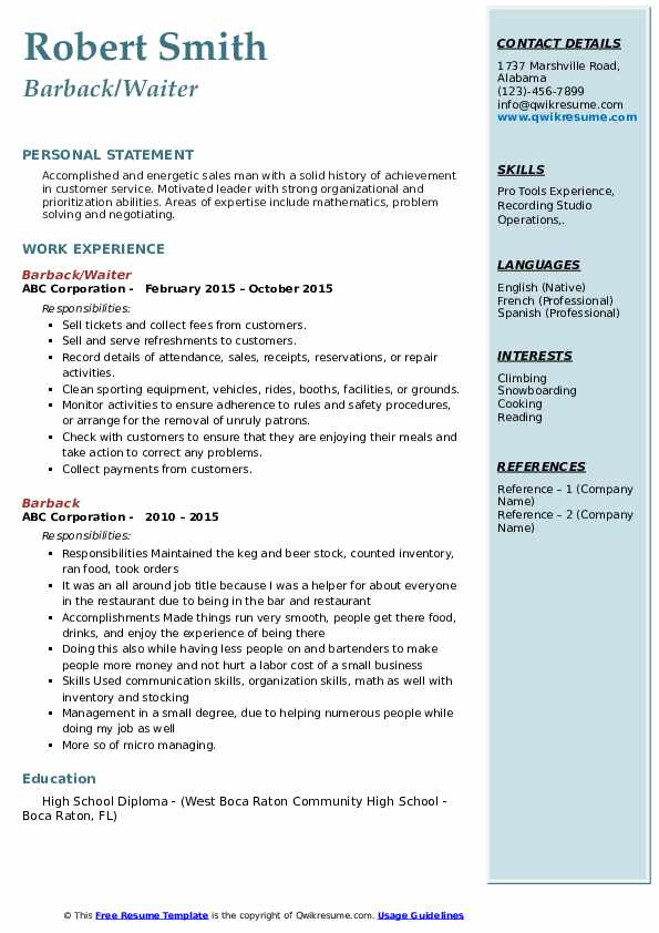 barback resume samples