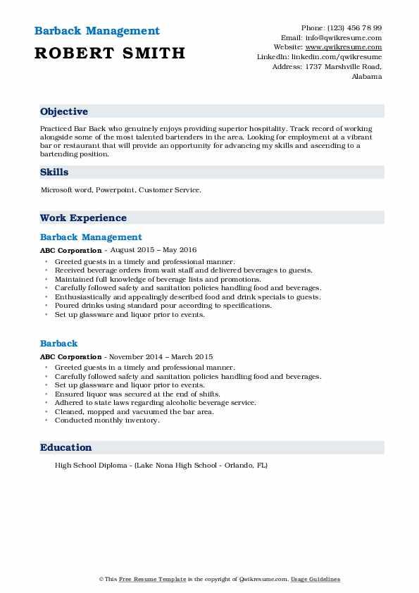 Barback Management Resume Example