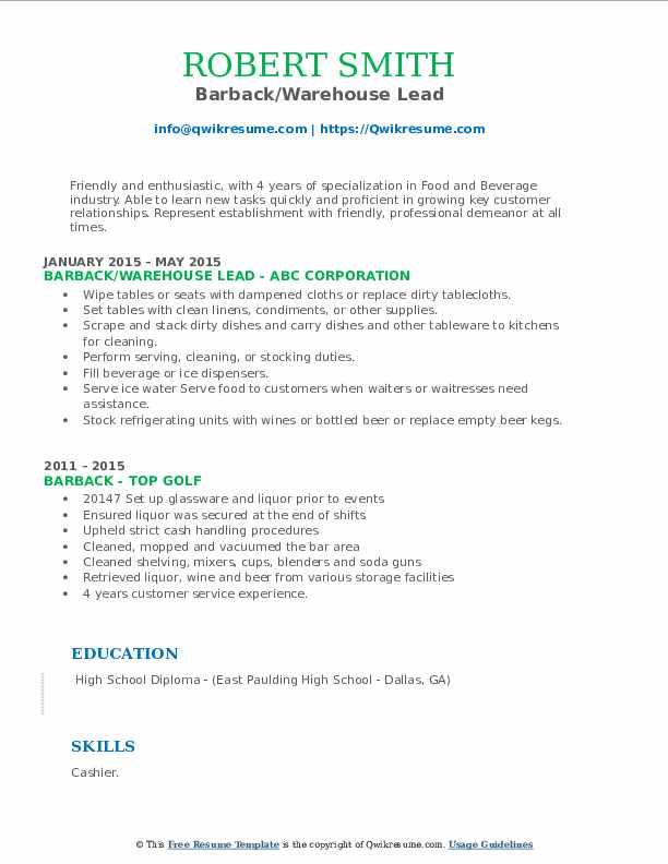 Barback/Warehouse Lead Resume Example