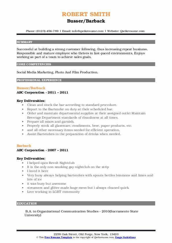 barback resume samples