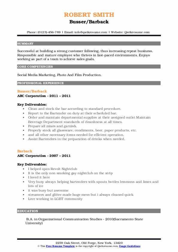 Busser/Barback Resume Example