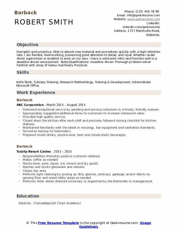 Barback Resume example