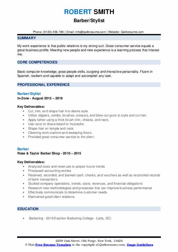 Barber/Stylist Resume Template
