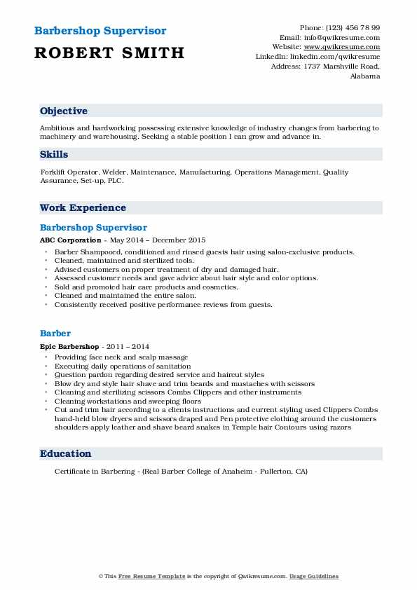 Barbershop Supervisor Resume Example