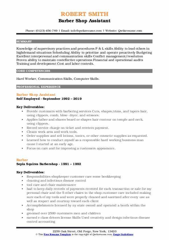 Skilled Laborer/Crew Leader Resume Format