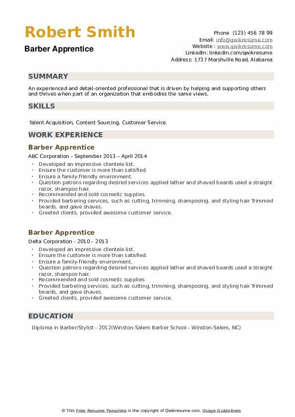 Barber Apprentice Resume example