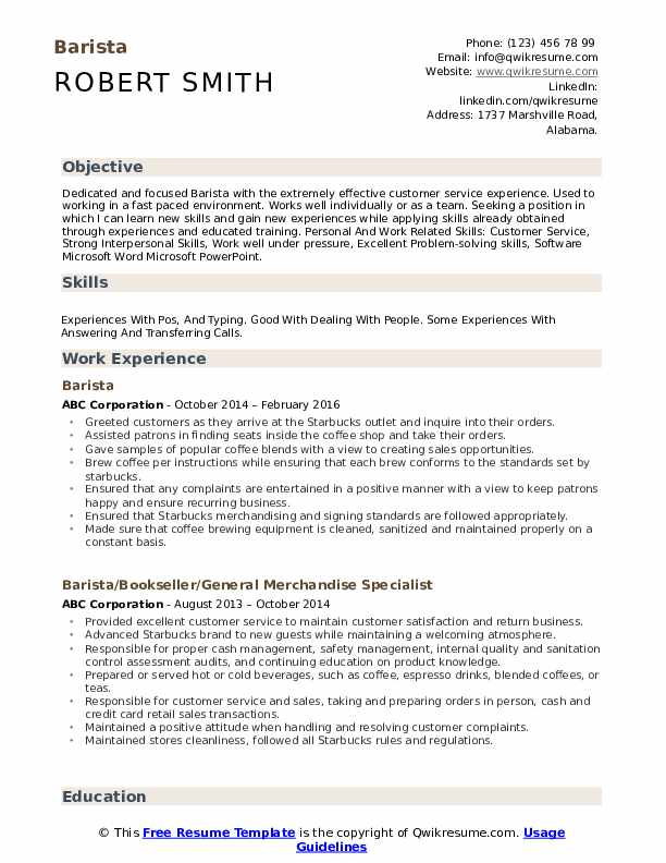 Barista Resume Sample