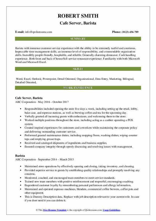 Cafe Server, Barista Resume Template