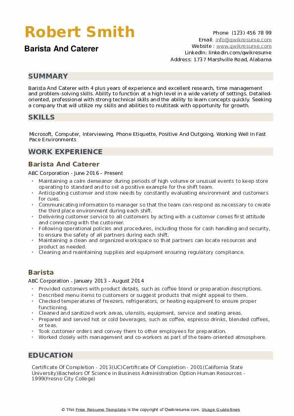 Barista Resume example