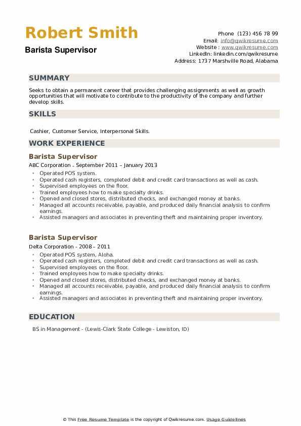 Barista Supervisor Resume example