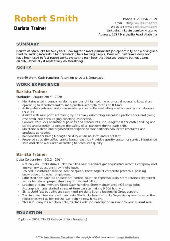Barista Trainer Resume example