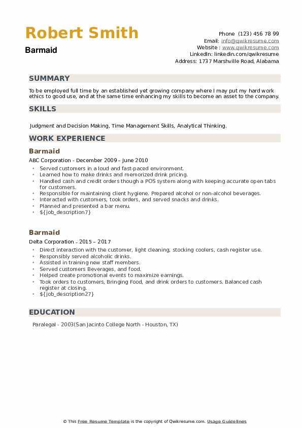 Barmaid Resume example