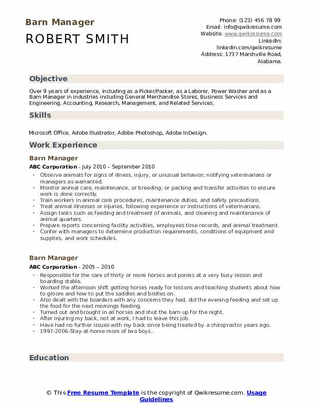 Barn Manager Resume Example
