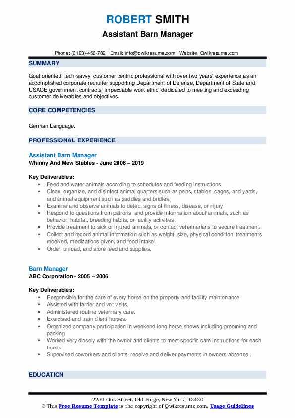 Assistant Barn Manager Resume Model