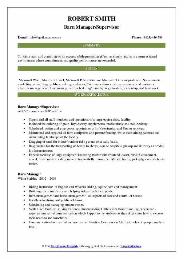 Barn Manager/Supervisor Resume Example