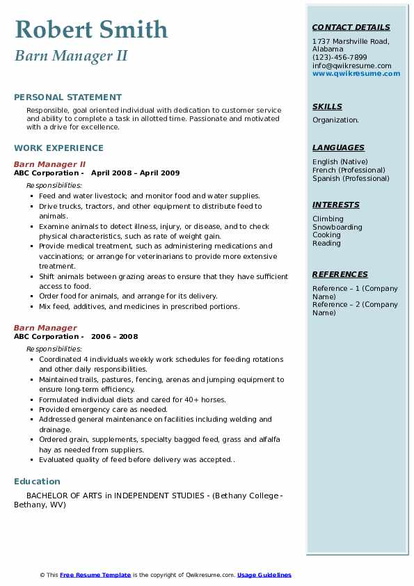 Barn Manager II Resume Example