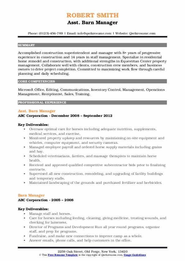 Asst. Barn Manager Resume Format