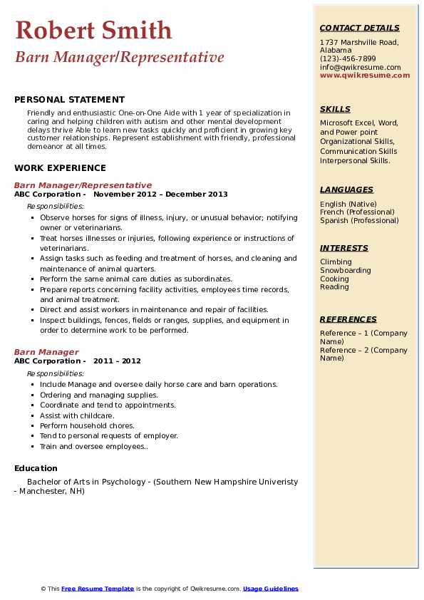 Barn Manager/Representative Resume Model
