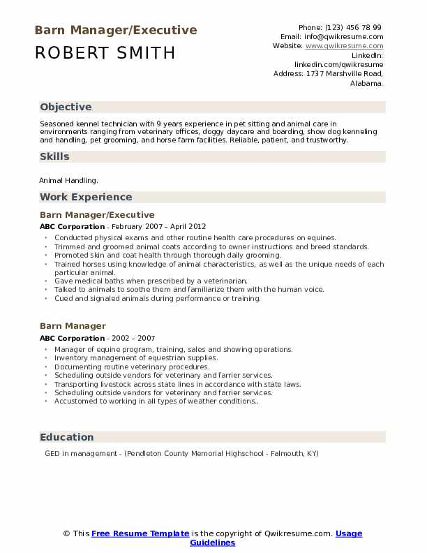 Barn Manager/Executive Resume Model