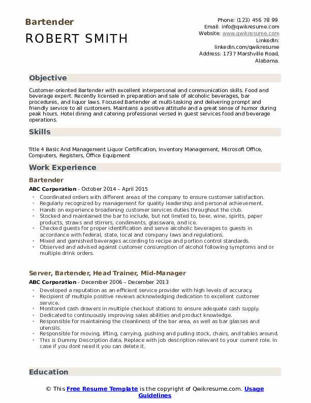 bartender resume samples