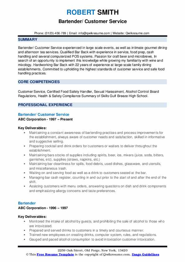 Bartender/ Customer Service Resume Format