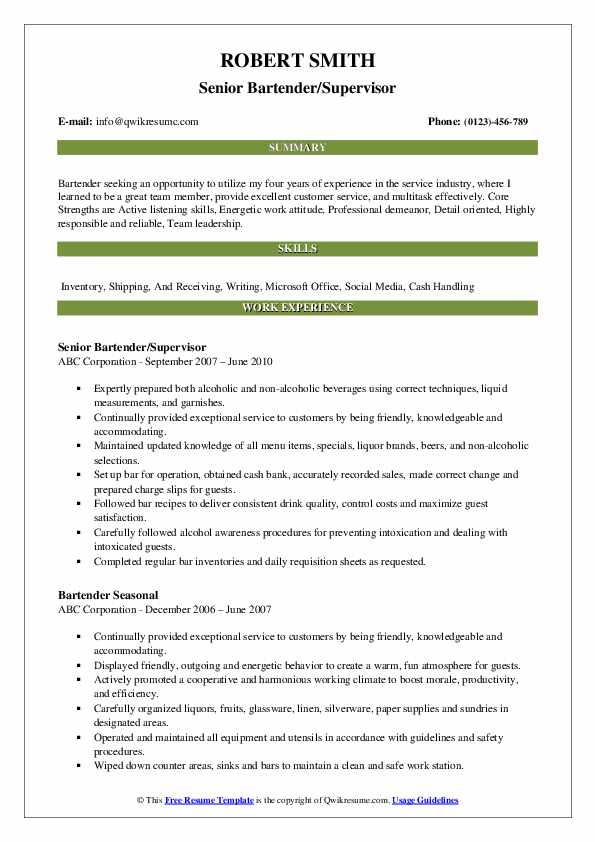 Senior Bartender/Supervisor Resume Sample