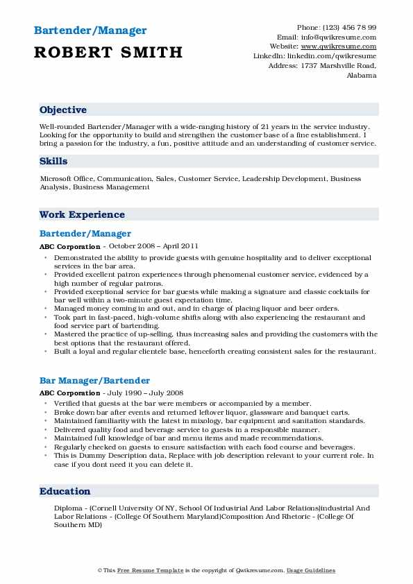 Bartender/Manager Resume Model