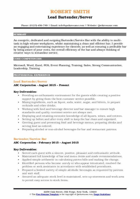 Lead Bartender/Server Resume Sample