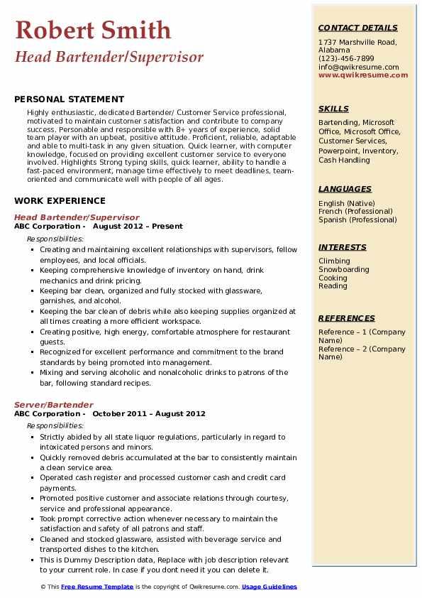 Head Bartender/Supervisor Resume Format