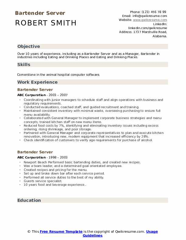 Bartender Server Resume Sample