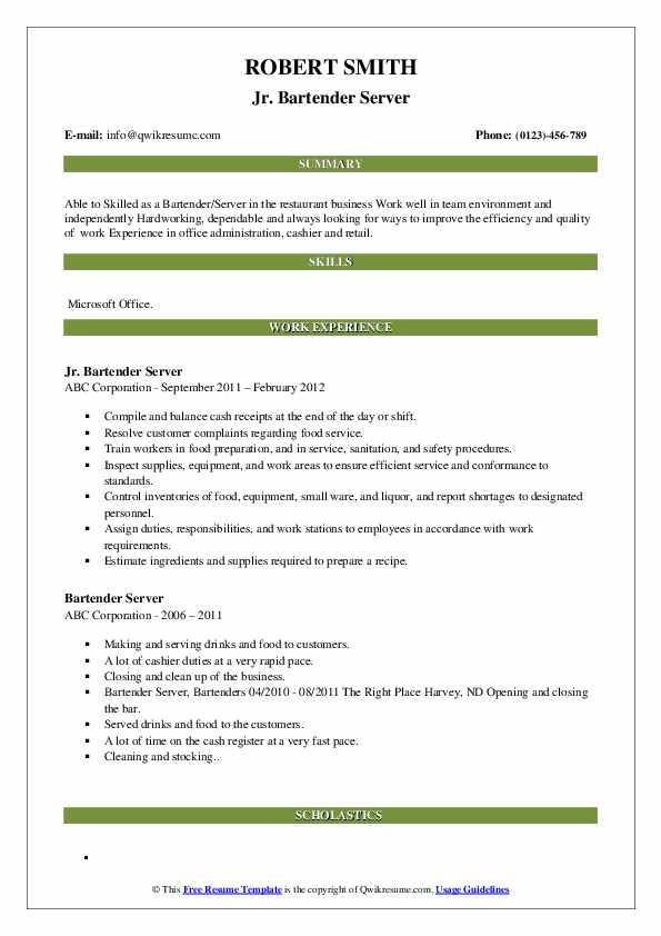 Jr. Bartender Server Resume Example