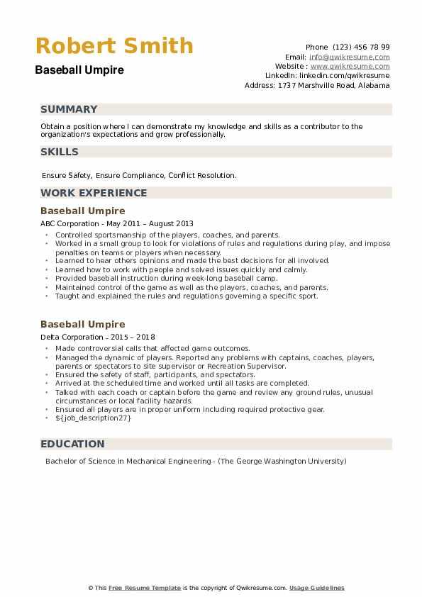 Baseball Umpire Resume example