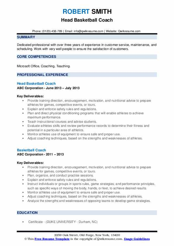 Head Basketball Coach Resume Format