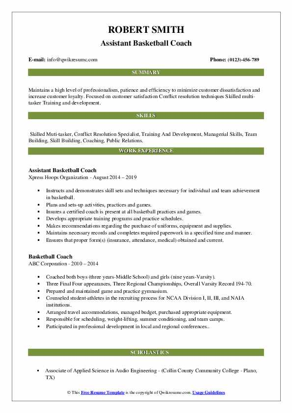 Assistant Basketball Coach Resume Template