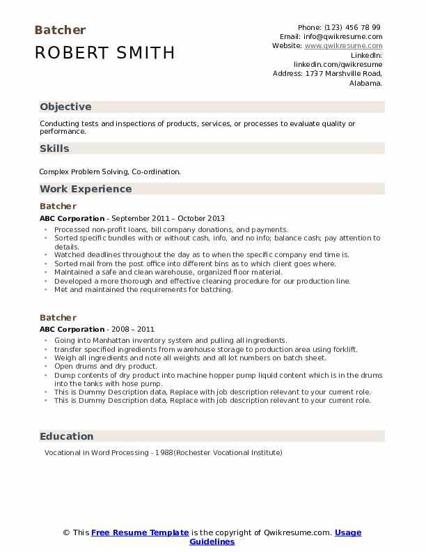 Batcher Resume example